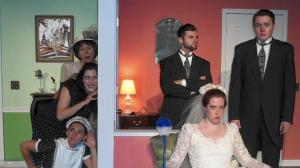 From left, actors Linda Roberts, Rachel Silvert, Lauren Knutson, Jerico Bleu, Stephanie Rohr and Ian Rigg perform a scene in the Towle Theater's British farce,